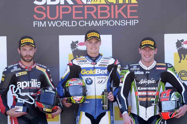 Chaz Davies stood atop the WSBK podium for both races at Aragon. Image: World Superbike Press Office.