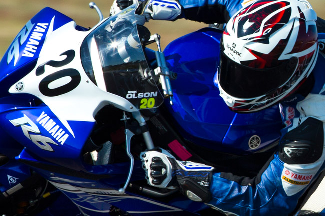 Olson is a leading hand on the Yamaha R6 and is tough  to beat at any track. Image: Brian Dyer.