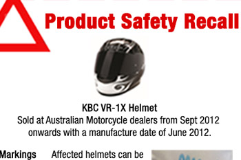 Product safety recall: KBC VR-1X helmet