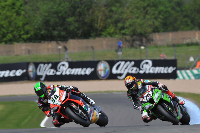 Eugene Laverty bounced back in the second World Superbike race to score a podium finish.