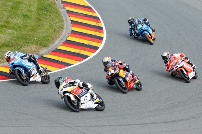 Jack Miller made a lightning start to the Moto3 race and was battling for the lead early. Image: MotoGP.com