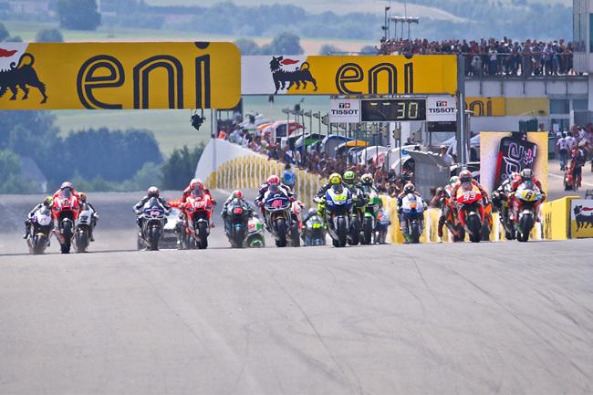 The MotoGP class race gets underway at the Sachsenring. Image: MotoGP.com.