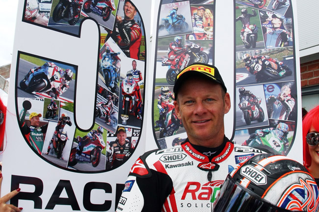 Shane Byrne reached the milestone 50 race win mark at Oulton Park.