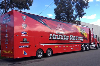 Team Honda Racing take delivery of brand new transporter