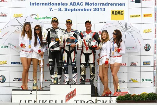 Ducati wildcards Max Neukirchner and Martin Bauer joined Markus Reiterberger on the IDM podium.