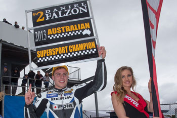 Daniel Falzon celebrating his 2013 ASBK Supersport title. Image: Andrew Gosling/TBG Sport.