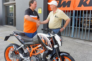 KTM awards 390 Duke to Camp Quality Convoy raffle winner