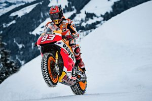 Honda's Marquez takes to the snow aboard MotoGP machine